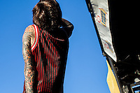 The metal band Bring Me The Horizon performed at the 2013 Vans Warped Tour in Mountain View, California on June 22, 2013. BMTH is from Sheffield, UK.