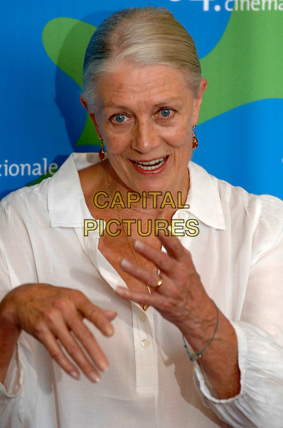 """VANESSA REDGRAVE.Photocall for """"Atonement"""" at the 64th Venice Film Festival, .La Biennale di Venezia, Venice, Italy..August 29th, 2007.half length white top amber earrings hands mouth open   .CAP/PL.©Phil Loftus/Capital Pictures"""