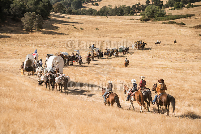 Days of '49 wagon train travel cross country through the golden hills of Amador County, California turning back the clock 150 years ago at the Oneto Ranch, Amador County, Calif.<br /> <br /> Diamond Jubilee commemoration of the founding of Amador County in 1854