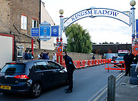 A security presence at the entrance to the Cherry Red Records stadium seen prior to the Sky Bet League 1 match between AFC Wimbledon and MK Dons at the Cherry Red Records Stadium, Kingston, England on 22 September 2017. Photo by Carlton Myrie / PRiME Media Images.