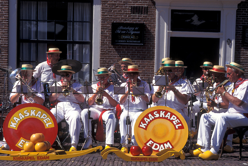 musicians, Netherlands, Edam, Holland, Noord-Holland, Europe, The Edam Band plays outside cheese market on market day in the city of Edam.