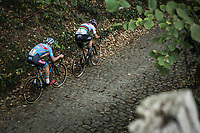 Wout Van Aert (BEL/Cibel-Cebon Offroad Team) and Michael Vanthourenhout (BEL/Marlux Bingoal) riding the cobbles of the Koppenberg.<br /> <br /> Koppenbergcross Belgium 2018