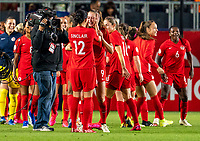 CARSON, CA - FEBRUARY 07: Christine Sinclair #12  and Jordyn Huitema #9 of Canada celebrate during a game between Canada and Costa Rica at Dignity Health Sports Park on February 07, 2020 in Carson, California.