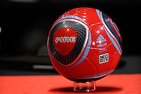 The new Adidas MLS soccer ball in Chicago Fire colors during the MLS SuperDraft at the Pennsylvania Convention Center in Philadelphia, PA, on January 14, 2010.