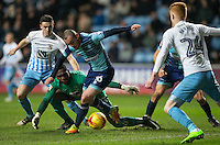 Michael Harriman of Wycombe Wanderers during a mix up in the Coventry penalty area during the The Checkatrade Trophy - EFL Trophy Semi Final match between Coventry City and Wycombe Wanderers at the Ricoh Arena, Coventry, England on 7 February 2017. Photo by Andy Rowland.