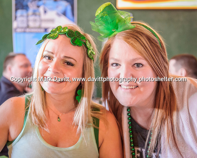Founder&rsquo;s Irish Pub held its annual St. Patricks Day Kegs and Eggs featuring green eggs and ham and green beer in Bondurant March 17. All dressed up in their Irish best party headgear, Amanda Smith and<br /> Julia Griffieon, both of Ankeny enjoyed the early morning fun.