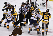 8th June 2017, Pittsburgh, PA, USA; Nashville Predators right wing Viktor Arvidsson (38) and Pittsburgh Penguins left wing Carl Hagelin (62) get involved in a scrum during the third period. Game Five was won 6-0 by the Pittsburgh Penguins against the Nashville Predators during the 2017 NHL Stanley Cup Final on June 8, 2017, at PPG Paints Arena in Pittsburgh, PA. The Penguins take a 3-2 series lead in the best of seven series with the victory.