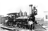 D&amp;RG locomotive #163 on a turntable.  The locomotive was built in 1882.<br /> D&amp;RG