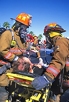 hazmat firemen attend to victim bioterrorist attack response training Las Vegas Nevada