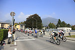 The peloton negotiate a level crossing at Albino during the 112th edition of Il Lombardia 2018, the final monument of the season running 241km from Bergamo to Como, Lombardy, Italy. 13th October 2018.<br /> Picture: Eoin Clarke | Cyclefile<br /> <br /> <br /> All photos usage must carry mandatory copyright credit (© Cyclefile | Eoin Clarke)