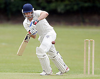 Steve Clarke bats for Hampstead during the Middlesex County Cricket League Premier Division  game between Hampstead and North Middlesex at Lymington Road, Hampstead on Sat July 19, 2014