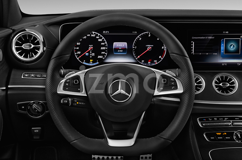 Car pictures of steering wheel view of a 2017 Mercedes Benz E Class AMG Line 2 Door Coupe