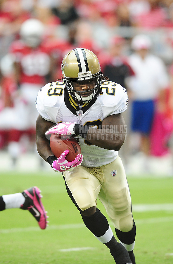 Oct. 10, 2010; Glendale, AZ, USA; New Orleans Saints running back (29) Chris Ivory against the Arizona Cardinals at University of Phoenix Stadium. The Cardinals defeated the Saints 30-20. Mandatory Credit: Mark J. Rebilas-