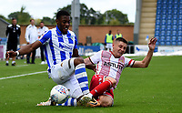 Colchester United's Drey Wright battles with Stevenage's Harry Beautyman<br /> <br /> Photographer Hannah Fountain/CameraSport<br /> <br /> The EFL Sky Bet League Two - Colchester United v Stevenage Borough - Saturday August 12th 2017 - Colchester Community Stadium - Colchester<br /> <br /> World Copyright &copy; 2017 CameraSport. All rights reserved. 43 Linden Ave. Countesthorpe. Leicester. England. LE8 5PG - Tel: +44 (0) 116 277 4147 - admin@camerasport.com - www.camerasport.com