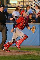 Auburn Doubledays catcher Austin Chubb #25 during a game against the Batavia Muckdogs on June 18, 2013 at Dwyer Stadium in Batavia, New York.  Batavia defeated Auburn 10-2.  (Mike Janes/Four Seam Images)