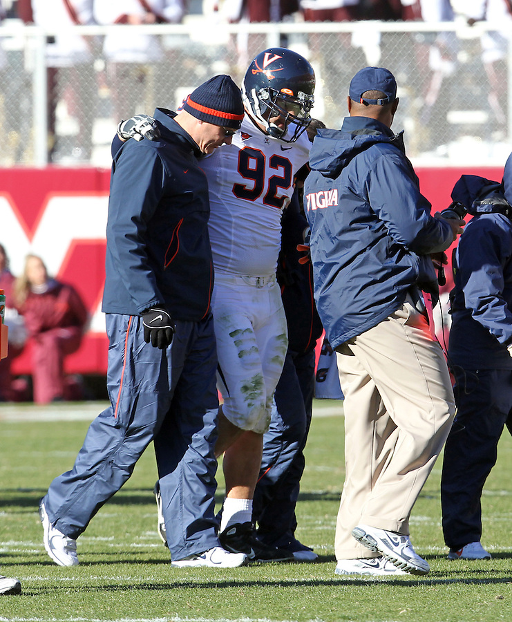 Nov 27, 2010; Charlottesville, VA, USA;  Virginia Cavaliers defensive end Zane Parr (92) was injured during the game against Virginia Tech at Lane Stadium. Virginia Tech won 37-7. Mandatory Credit: Andrew Shurtleff-