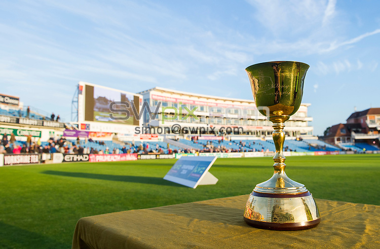 Picture by Allan McKenzie/SWpix.com - 26/09/2014 - Cricket - LV County Championship Div One - Yorkshire County Cricket Club v Somerset County Cricket Club - Headingley Cricket Ground, Leeds, England - The Lords Taverners & ECB County Championship Trophy.