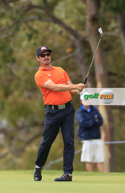 Mikko Korhonen (FIN) on the 18th tee during Round 3 of the ISPS HANDA Perth International at the Lake Karrinyup Country Club on Saturday 25th October 2014.<br /> Picture:  Thos Caffrey / www.golffile.ie