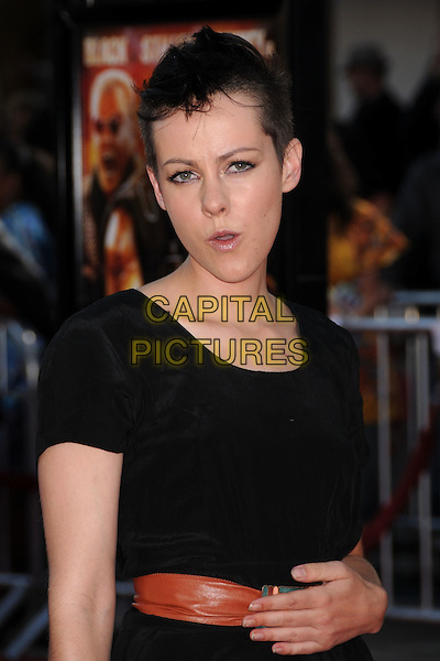 "JENA MALONE .""Tropic Thunder"" Los Angeles Premiere at Mann's Village Theatre, Westwood, California, USA, 11 August 2008. .half length black dress belt brown hand shaved head hair funny.CAP/ADM/BP.©Byron Purvis/Admedia/Capital PIctures"