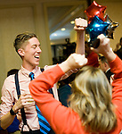 WATERBURY, CT- 4 November 2014-110414EC15--    Mike Mancini, a campaign scheduler with Elizabeth Esty's team, reacts after the democrat wins the fifth congressional district.  Supporters gathered at CoCo Key in Waterbury Tuesday night. Erin Covey Republican-American