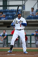 Adrian Gonzalez (8) of the Los Angeles Dodgers bats for the Rancho Cucamonga Quakes during a rehab game against the Stockton Ports at LoanMart Field on August 15, 2017 in Rancho Cucamonga California. Rancho Cucamonga defeated Stockton, 11-9. (Larry Goren/Four Seam Images)