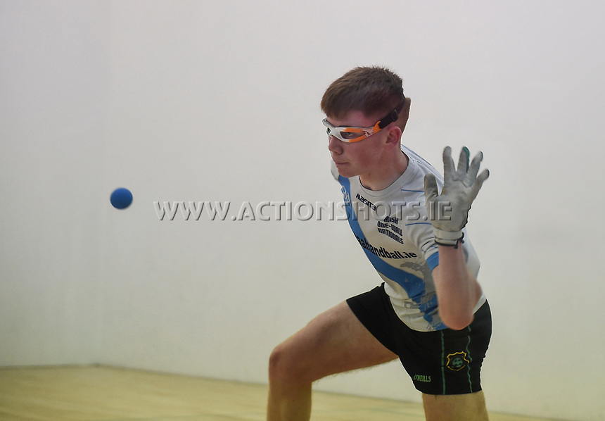 30/04/2017; 2017 40x20 Irish Junior National Handball Finals; Moycullen; Co Galway<br /> Boys 17 and Under Final<br /> Eoin Brennan (Kilkenny) vs Cian O'Driscoll (Cork)<br /> Photo Credit: actionshots.ie/Tommy Grealy