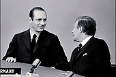 Prime Minister Jacques Chirac, of France, left, and Chancellor Helmut Schmidt of Germany, right, attend the North Atlantic Treaty Organization (NATO) North Atlantic Council Meeting at the level of Heads of State and Government in Brussels, Belgium on June 26, 1974. The NATO Heads of Government signed a Declaration on Atlantic Relations approved and published by the North Atlantic Council in Ottawa. <br /> Credit: NATO via CNP