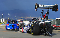 Nov. 9, 2012; Pomona, CA, USA: NHRA top fuel dragster driver Antron Brown during qualifying for the Auto Club Finals at at Auto Club Raceway at Pomona. Mandatory Credit: Mark J. Rebilas-