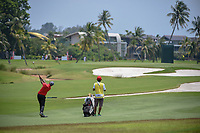Yuvraj SANDHU (IND) hits his approach shot on 16 during Rd 1 of the Asia-Pacific Amateur Championship, Sentosa Golf Club, Singapore. 10/4/2018.<br /> Picture: Golffile | Ken Murray<br /> <br /> <br /> All photo usage must carry mandatory copyright credit (&copy; Golffile | Ken Murray)