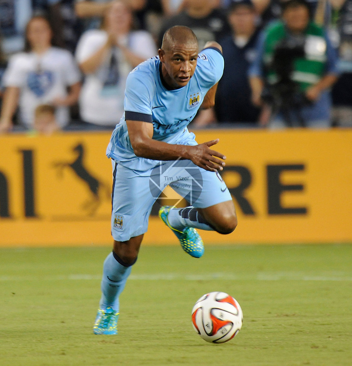Manchester City midfielder Fernando (6) in first half action. Manchester City midfielder Fernando (6).  Manchester City defeated Sporting KC 4-1 in an international friendly game played at Sporting Park in Kansas City, Kansas on Wednesday July 23, 2014.