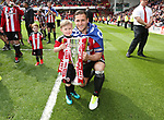 Sheffield United's Billy Sharp celebrates with the trophy during the League One match at Bramall Lane, Sheffield. Picture date: April 30th, 2017. Pic David Klein/Sportimage