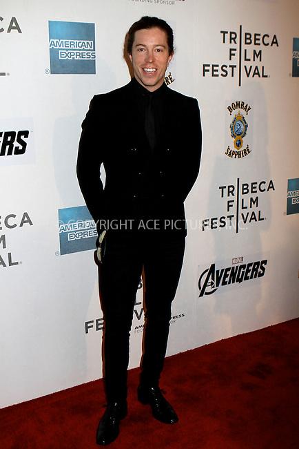WWW.ACEPIXS.COM . . . . .  ....April 28 2012, New York City....Actor Shaun White arriving at 'The Avengers' Premiere at the 2012 Tribeca Film Festival at the Borough of Manhattan Community College on April 28, 2012 in New York City. ....Please byline: NANCY RIVERA- ACEPIXS.COM.... *** ***..Ace Pictures, Inc:  ..Tel: 646 769 0430..e-mail: info@acepixs.com..web: http://www.acepixs.com