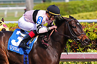 HALLANDALE BEACH, FL - DECEMBER 16:   #3 Lewis Bay (KY) wth jockey Irad Ortiz Jr on board, wins the Rampart Stakes GIII at Gulfstream Park on December 16, 2017 in Hallandale Beach, Florida. (Photo by Liz Lamont/Eclipse Sportswire/Getty Images)