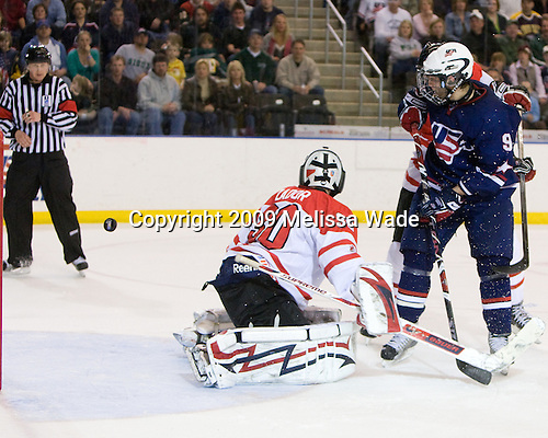 Michael Zador (Canada - 30), Jerry D'Amigo (US - 9), Erik Gudbranson (Canada - 5) - The US defeated Canada 2-1 at the Urban Plains Center in Fargo, North Dakota, on Friday, April 17, 2009, in their semi-final match during the 2009 World Under 18 Championship.