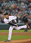 Hisashi Iwakuma (Mariners),<br /> MAY 26, 2013 - MLB :<br /> Hisashi Iwakuma of the Seattle Mariners pitches during the Major League Baseball game against the Texas Rangers at Safeco Field in Seattle, Washington, United States. (Photo by AFLO)