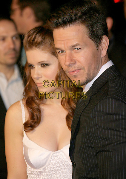 """KATE MARA & MARK WAHLBERG.At the """"Shooter"""" Los Angeles Premiere held at Mann Village Theatre, Westwood, California, USA, 08 March 2007..portrait headshot white dress couple.CAP/ADM/ZL.©Zach Lipp/AdMedia/Capital Pictures."""
