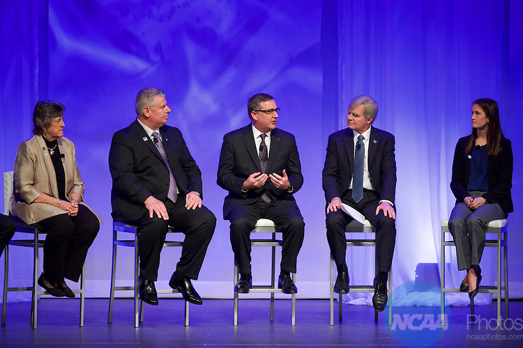 14 JAN 2016:  The Opening Business Session is held during the 2016 NCAA Convention at the Grand Hyatt San Antonio in San Antonio, TX.   Jamie Schwaberow/NCAA Photos  (Pictured:  Mark Emmert, Kirk Schulz, Amanda Ingersoll, Judith Bense, Alan S. Cureton)