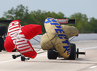 Apr 26, 2014; Baytown, TX, USA; A rear view of the parachutes on the car of NHRA top fuel driver Leah Pritchett during qualifying for the Spring Nationals at Royal Purple Raceway. Mandatory Credit: Mark J. Rebilas-