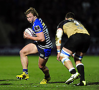 Tommy Taylor of Sale Sharks in possession. European Rugby Challenge Cup quarter final, between Sale Sharks and Montpellier on April 8, 2016 at the AJ Bell Stadium in Manchester, England. Photo by: Patrick Khachfe / JMP