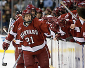 Dylan Reese (Harvard University - Pittsburgh, PA) and Alex Meintel (Harvard University - Yarmouth, ME) celebrate Reese's goal which put Harvard up 1-0. The Boston College Eagles defeated the Harvard University Crimson 3-1 in the first round of the 2007 Beanpot Tournament on Monday, February 5, 2007, at the TD Banknorth Garden in Boston, Massachusetts.  The first Beanpot Tournament was played in December 1952 with the scheduling moved to the first two Mondays of February in its sixth year.  The tournament is played between Boston College, Boston University, Harvard University and Northeastern University with the first round matchups alternating each year.