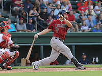 Catcher Mike Kvasnicka (7) of the Lexington Legends, a Houston Astros affiliate, in a game against the Greenville Drive on July 19, 2012, at Fluor Field at the West End in Greenville, South Carolina. Kvasnicka is the No. 25 prospect for the Astros, according to Baseball America. (Tom Priddy/Four Seam Images)