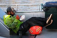 Fishing for sockeye salmon on the F/V Okuma in the Nushagak River in Bristol Bay in Alaska on July 6, 2019. (Photo by Karen Ducey)