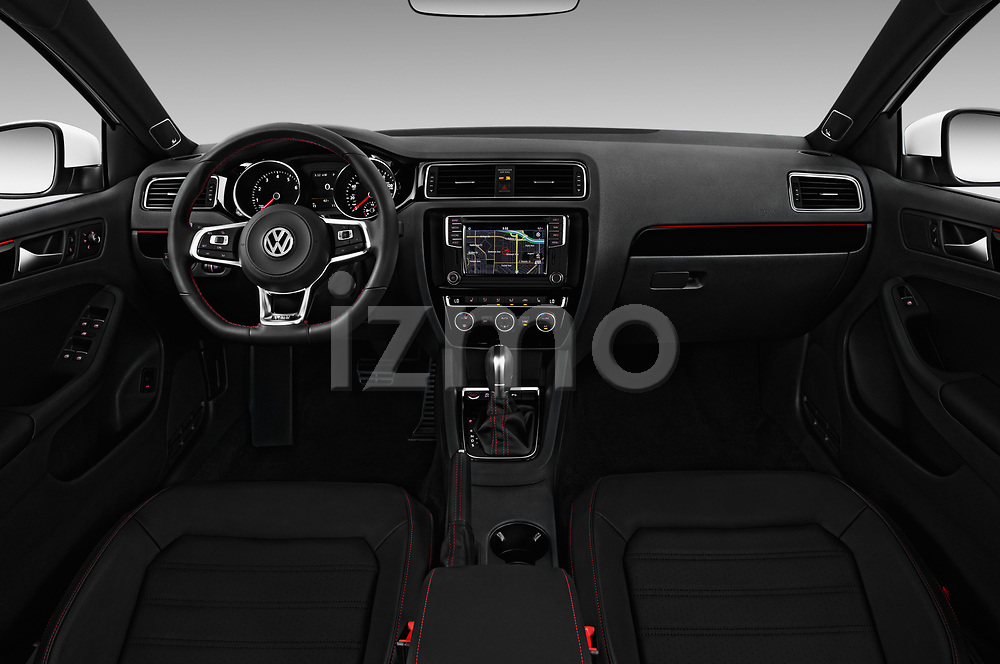 Stock photo of straight dashboard view of 2017 Volkswagen Jetta GLI 4 Door Sedan Dashboard