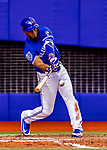 26 March 2018: Toronto Blue Jays outfielder Teoscar Hernandez hits an RBI single in the 8th inning of an exhibition game against the St. Louis Cardinals at Olympic Stadium in Montreal, Quebec, Canada. The Cardinals defeated the Blue Jays 5-3 in the first of two MLB pre-season games in the former home of the Montreal Expos. Mandatory Credit: Ed Wolfstein Photo *** RAW (NEF) Image File Available ***