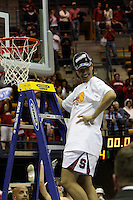 BERKELEY, CA - MARCH 30: Ros Gold-Onwude cuts down the net following Stanford's 74-53 win against the Iowa State Cyclones on March 30, 2009 at Haas Pavilion in Berkeley, California.