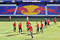 New York Red Bulls players warm up during practice on Media Day at Red Bull Arena in Harrison, NJ, on March 15, 2011.