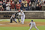 13 October 2012: Washington Nationals outfielder Jayson Werth at bat during Postseason Playoff Game 5 of the National League Divisional Series against the St. Louis Cardinals at Nationals Park in Washington, DC. The Cardinals stunned the home team with a four-run rally in the 9th inning to defeat the Nationals 9-7 and win the NLDS, moving on to the NL Championship Series. Mandatory Credit: Ed Wolfstein Photo