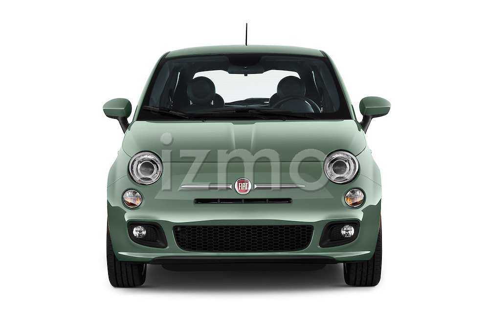 Car photography straight front view of a 2015 Fiat 500 Sport Door Hatchback Front View