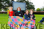 l-r Rory Lynch, Grace O'Donnell, Fiona Leahy  Mark Lynch,  at the Town Park Open Air Cinema on Friday