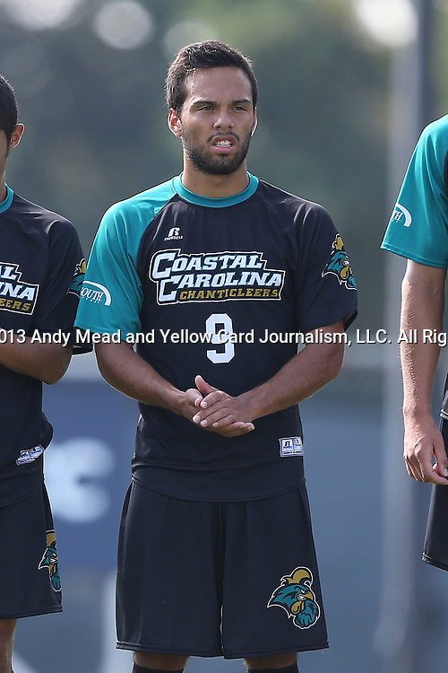 02 September 2013: Coastal Carolina's Sergio Camargo (CAN). The University of North Carolina Tar Heels hosted the Coastal Carolina University Chanticleers at Fetzer Field in Chapel Hill, NC in a 2013 NCAA Division I Men's Soccer match. UNC won the game 4-0.